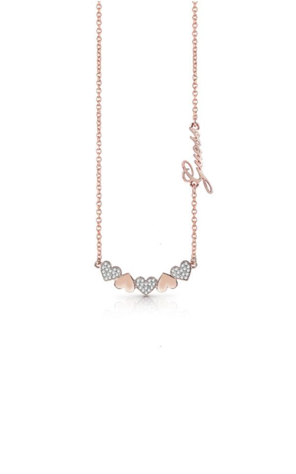 GUESS FAUX UBN85045 Ροζ Χρυσό Κολιέ Με Καρδιές