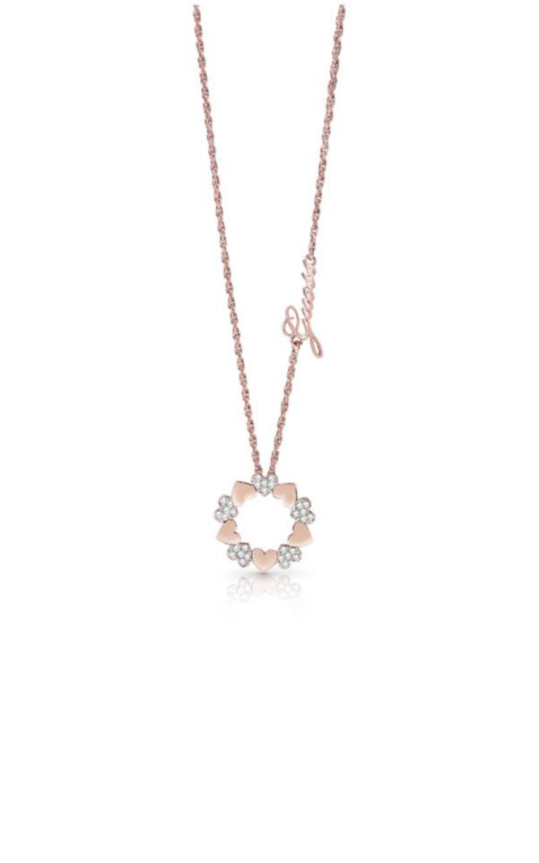 GUESS FAUX UBN85047 Ροζ Χρυσό Κολιέ Με Καρδιές Σε Κύκλο