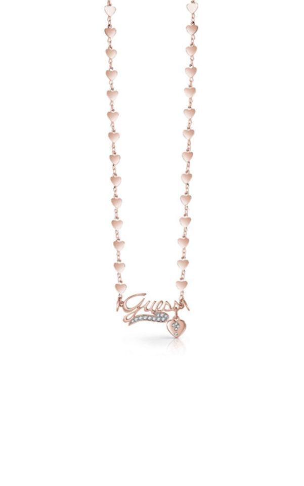 GUESS FAUX UBN85078 Ροζ Χρυσό Κολιέ Με Καρδιές & Λογότυπο