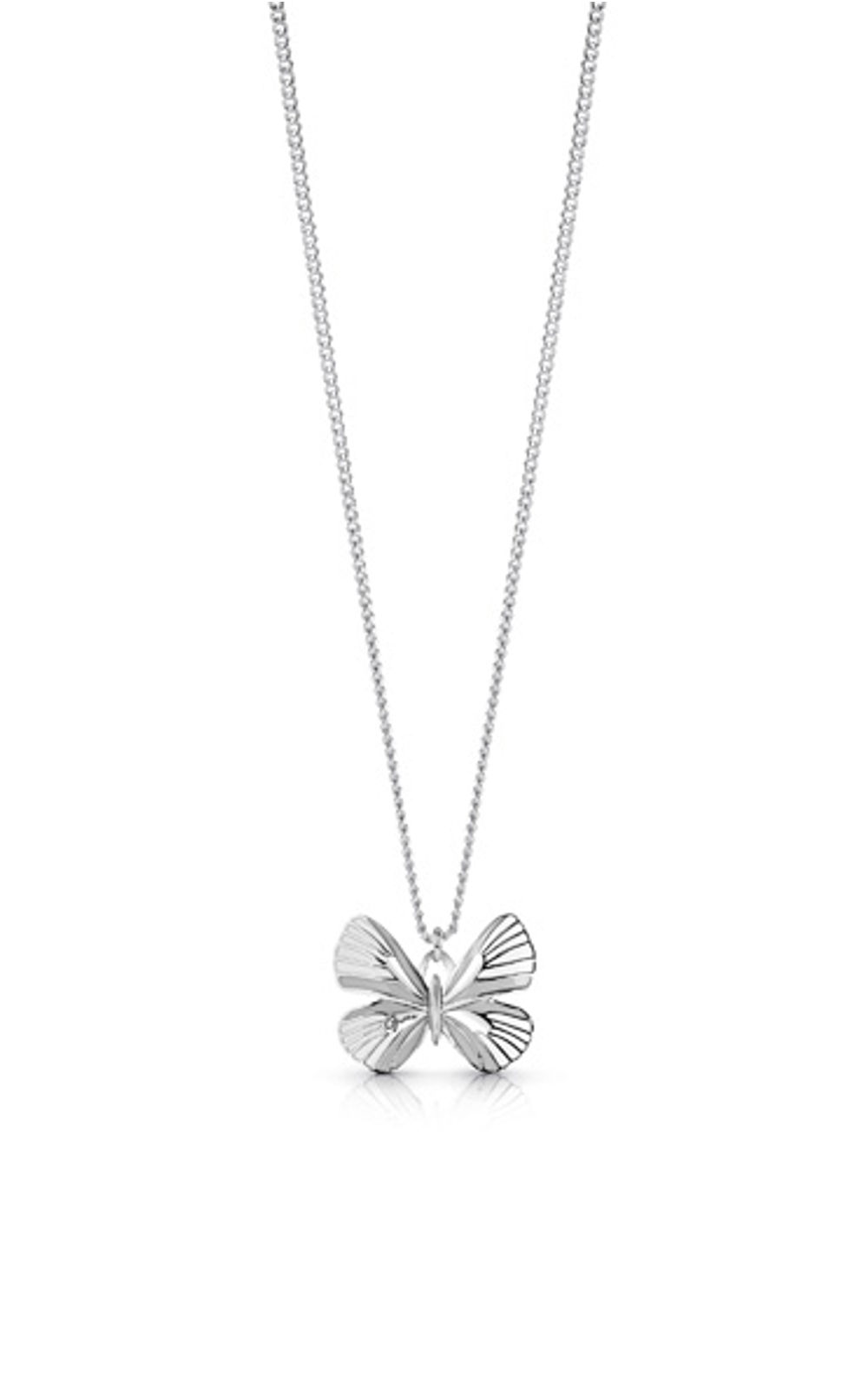 GUESS FAUX UBN85105 Ασημένιο Κολιέ Με Άσπρη Πεταλούδα