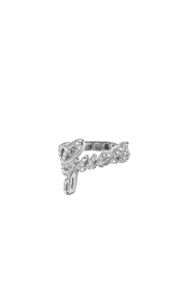 GUESS FAUX UBR21201-L Ασημένιο Δαχτυλίδι Με Λογότυπο
