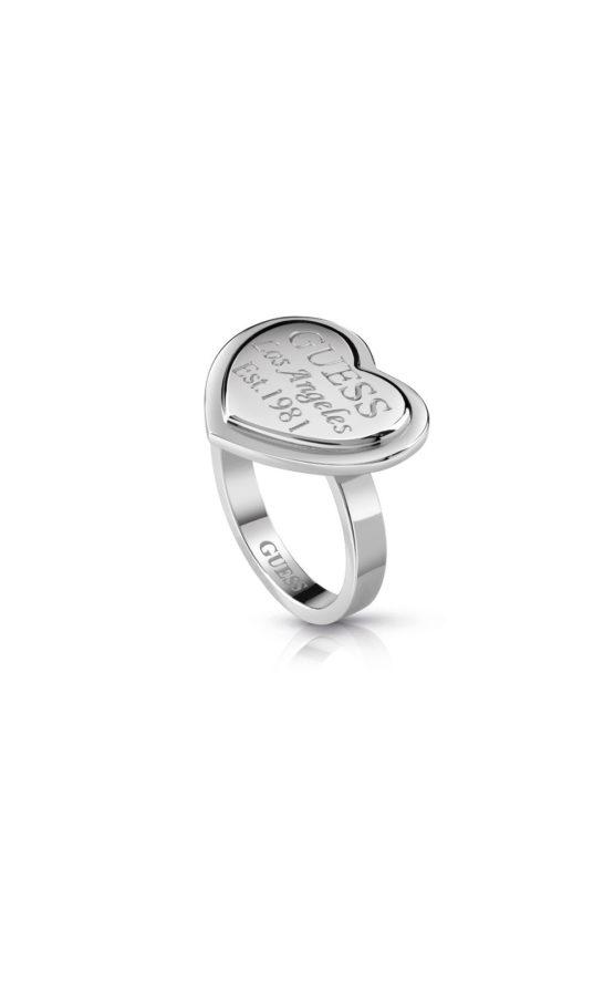 GUESS FAUX UBR28006-54 Ασημένιο Δαχτυλίδι Με Καρδιά