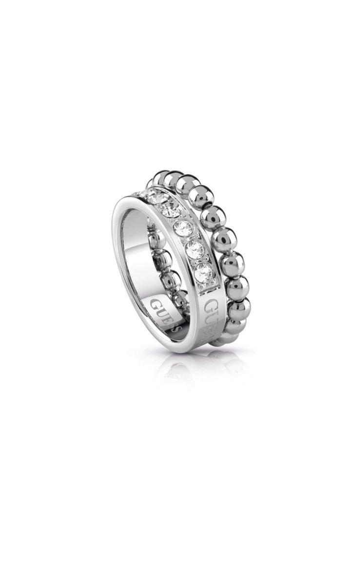 GUESS FAUX UBR28012-54 Ασημένιο Δαχτυλίδι Με Χάντρες