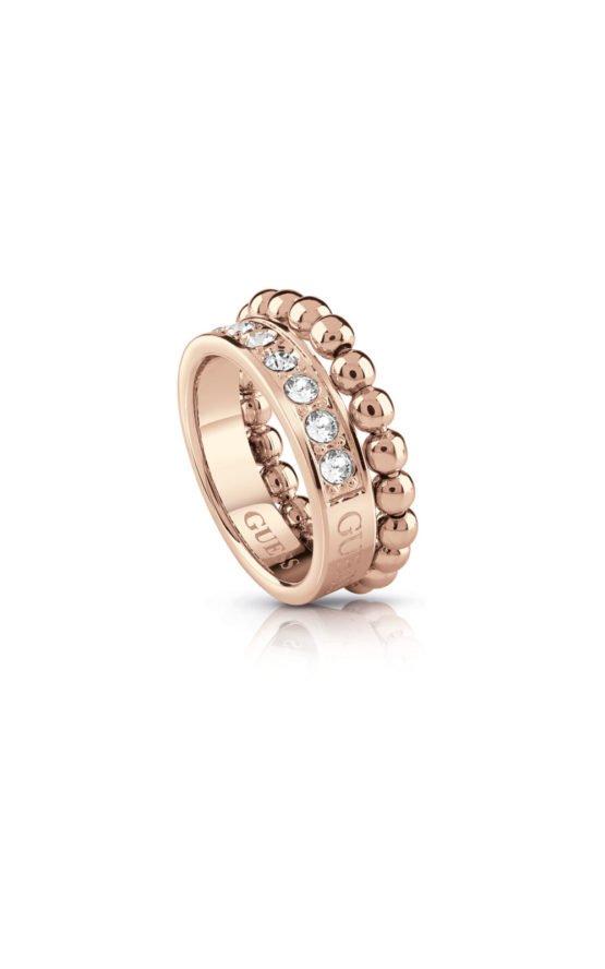 GUESS FAUX UBR28014-54 Ροζ Χρυσό Δαχτυλίδι Με Χάντρες