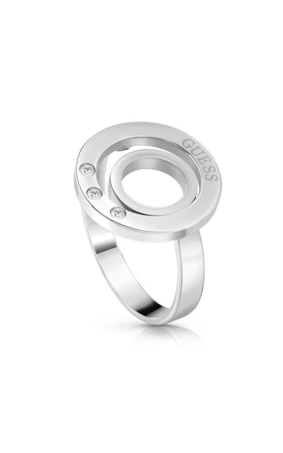 GUESS FAUX UBR29006-56 Ασημένιο Δαχτυλίδι Με Διπλό Κύκλο