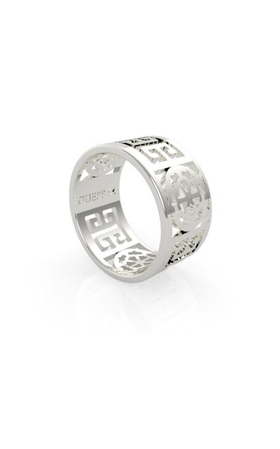 GUESS FAUX UBR29032-52 Ασημένιο Δαχτυλίδι Με Λογότυπο