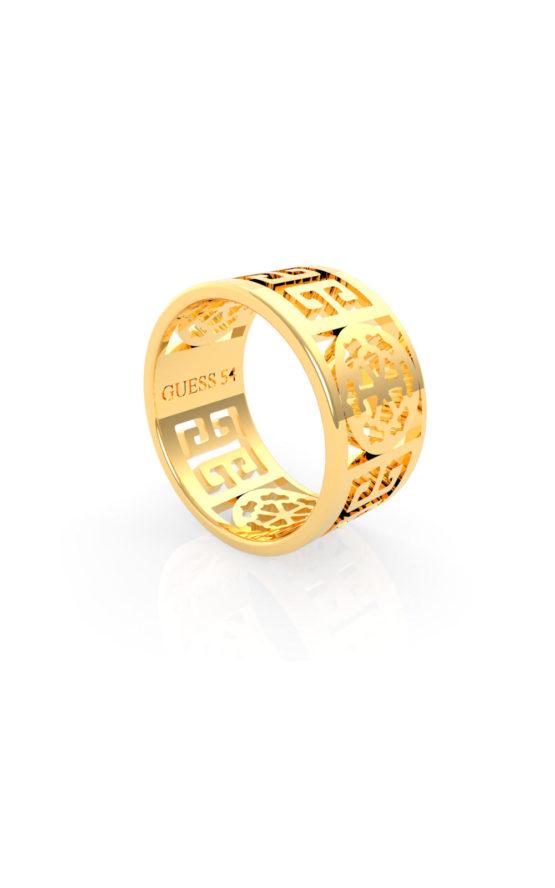 GUESS FAUX UBR29033-56 Χρυσό Δαχτυλίδι Με Λογότυπο