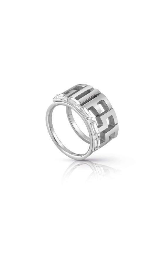 GUESS FAUX UBR78011-56 Ασημένιο Δαχτυλίδι Με Λογότυπο