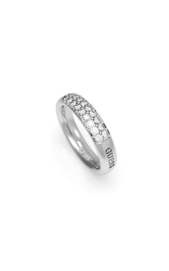 GUESS FAUX UBR78019-56 Ασημένιο Δαχτυλίδι Με Λογότυπο & Πέτρες