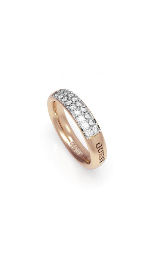 GUESS FAUX UBR78021-54 Ροζ Χρυσό Δαχτυλίδι Με Λογότυπο & Πέτρες