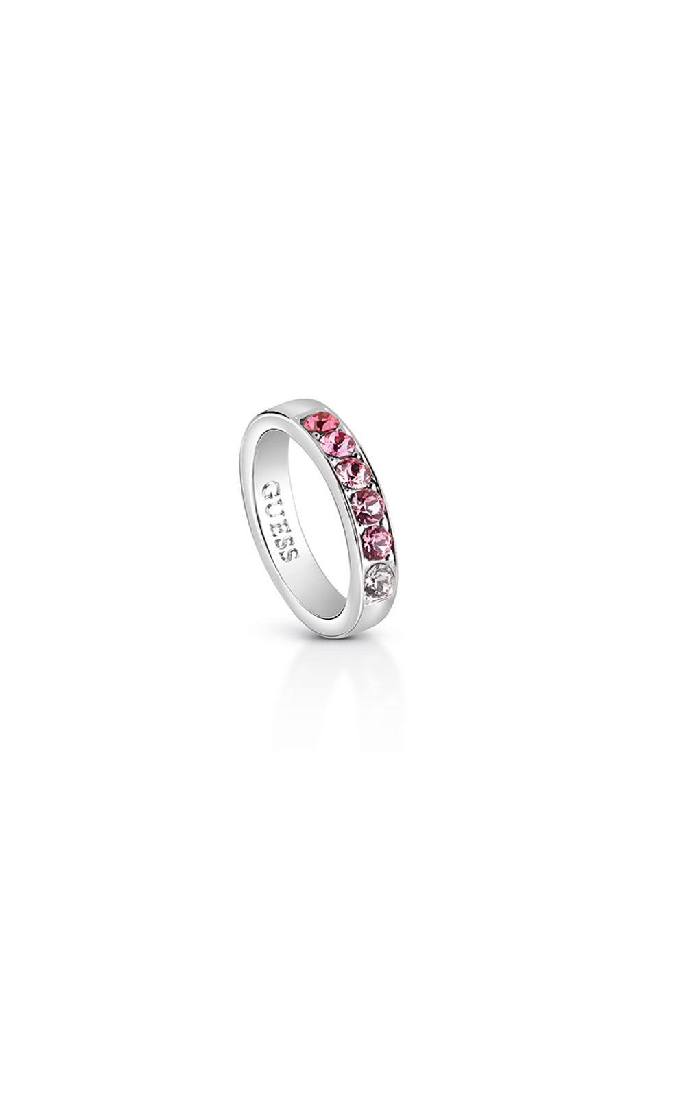 GUESS FAUX UBR83035-54 Ασημένιο Δαχτυλίδι Με Ροζ Πέτρες