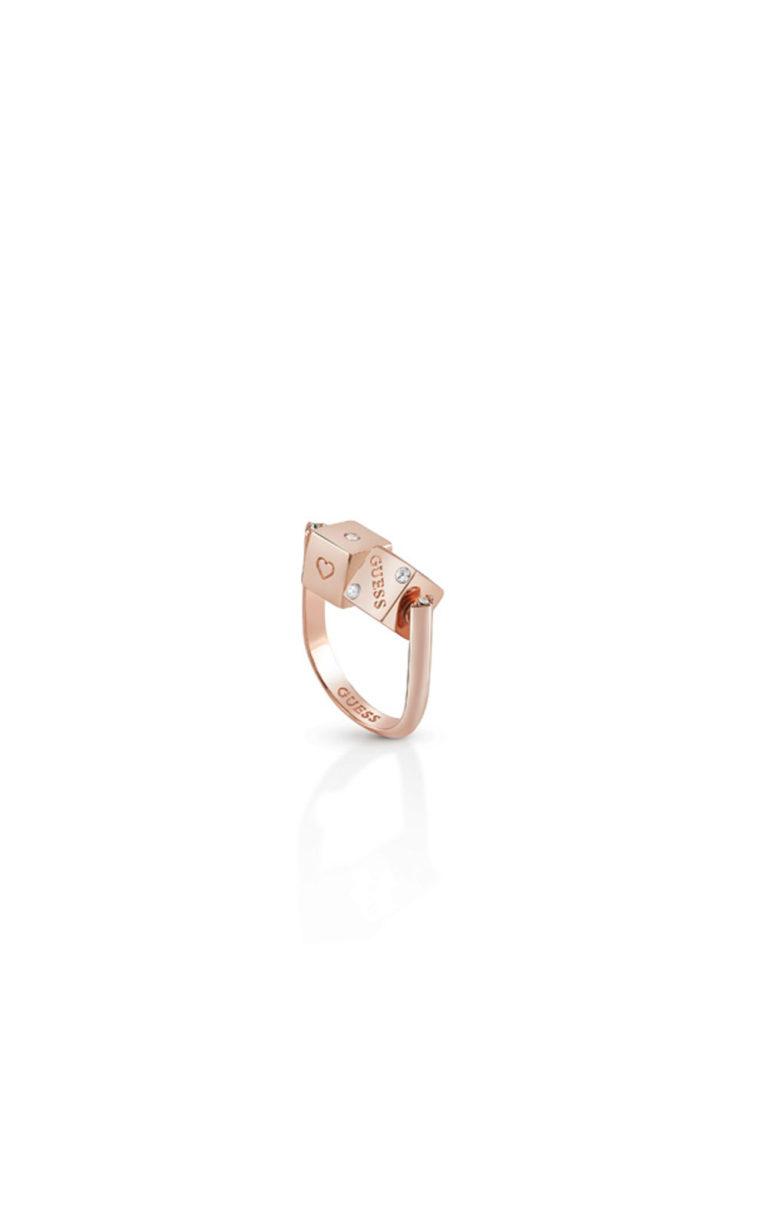GUESS FAUX UBR83044-54 Ροζ Χρυσό Δαχτυλίδι Με Ζάρια
