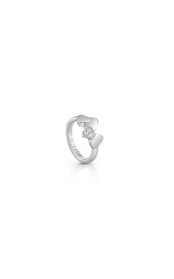 GUESS FAUX UBR83048-54 Ασημένιο Δαχτυλίδι Με Καρδιές
