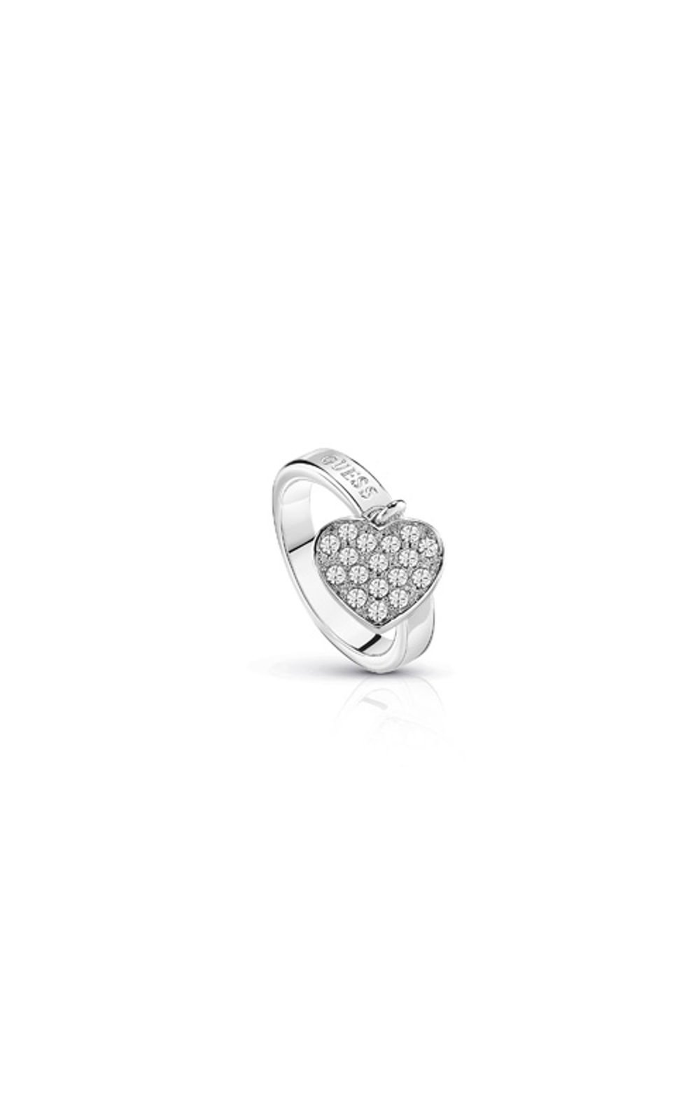 GUESS FAUX UBR84016-54 Ασημένιο Δαχτυλίδι Με Καρδιά