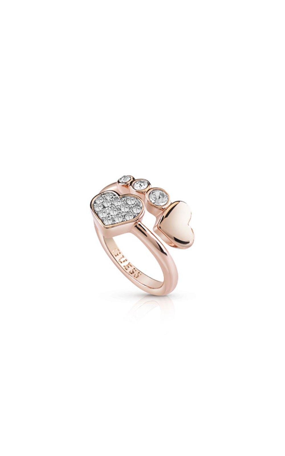 GUESS FAUX UBR84054-54 Ροζ Χρυσό Δαχτυλίδι Με Καρδιές