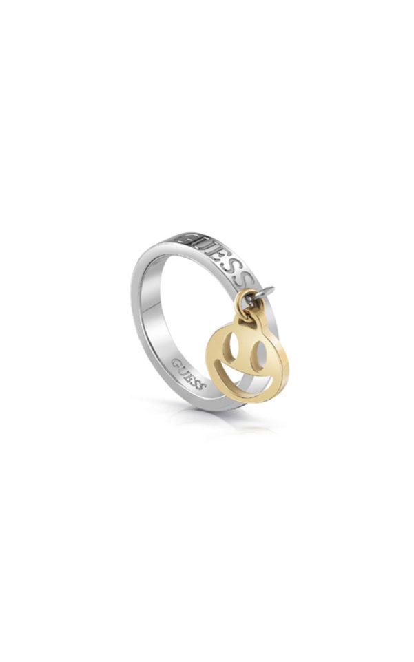 GUESS FAUX UBR85000-54 Ασημένιο Δαχτυλίδι Με Χρυσό Charm