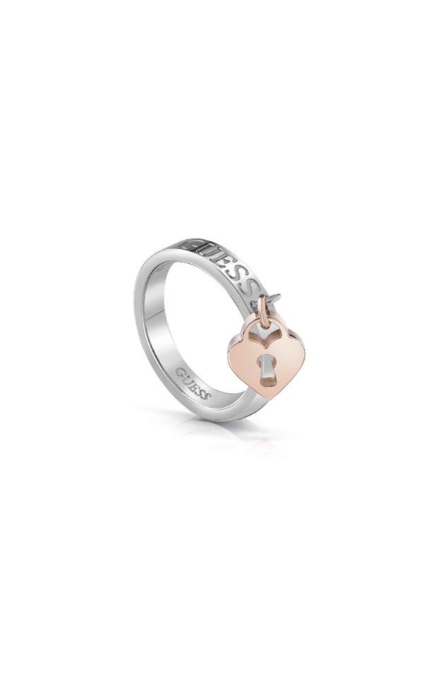 GUESS FAUX UBR85001-54 Ασημένιο Δαχτυλίδι Με Ροζ Χρυσό Charm Καρδιά