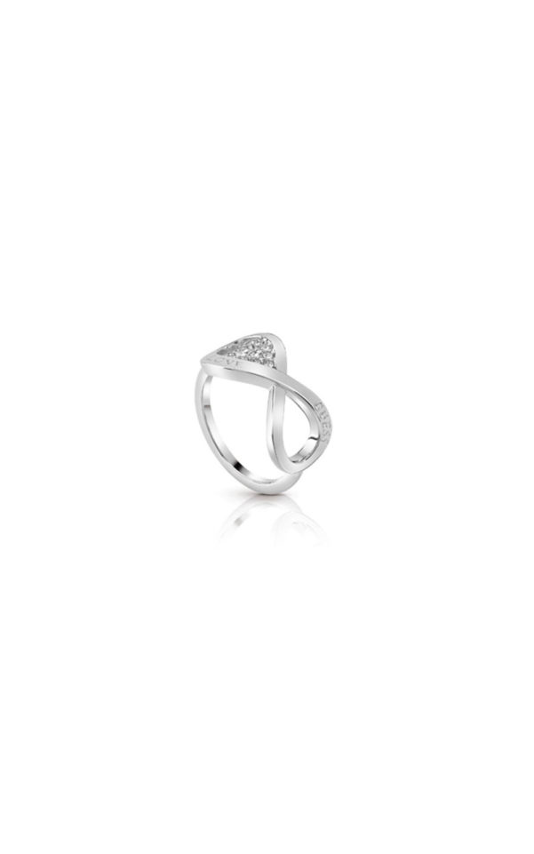 GUESS FAUX UBR85004-54 Ασημένιο Δαχτυλίδι Με Σχέδιο Love Guess