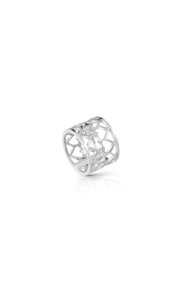 GUESS FAUX UBR85006-54 Ασημένιο Δαχτυλίδι Με Καρδιές
