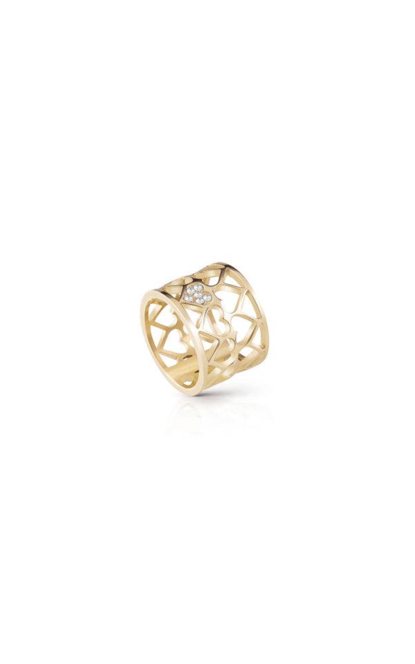 GUESS FAUX UBR85007-54 Χρυσό Δαχτυλίδι Με Καρδιές
