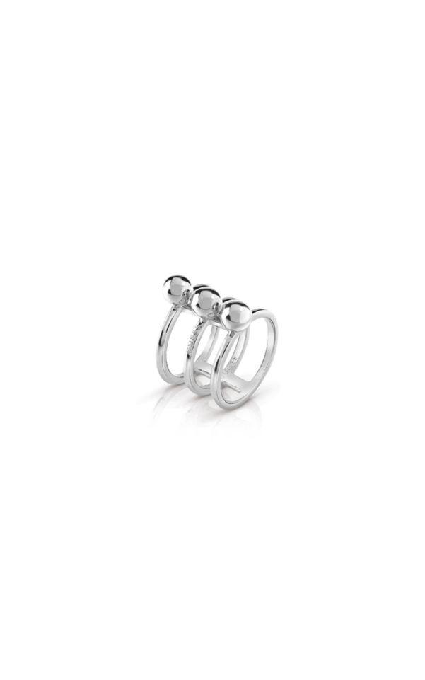 GUESS FAUX UBR85015-54 Ασημένιο Δαχτυλίδι Τρίβερο Με Χάντρες