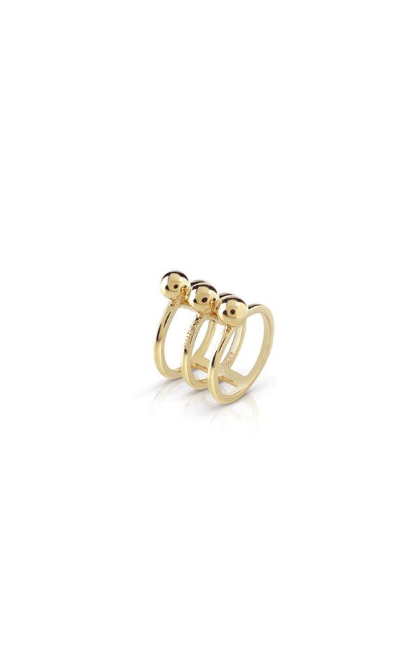 GUESS FAUX UBR85016-54 Χρυσό Δαχτυλίδι Τρίβερο Με Χάντρες