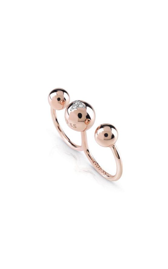 GUESS FAUX UBR85023-54 Ροζ Χρυσό Δαχτυλίδι Διπλό Με Χάντρες