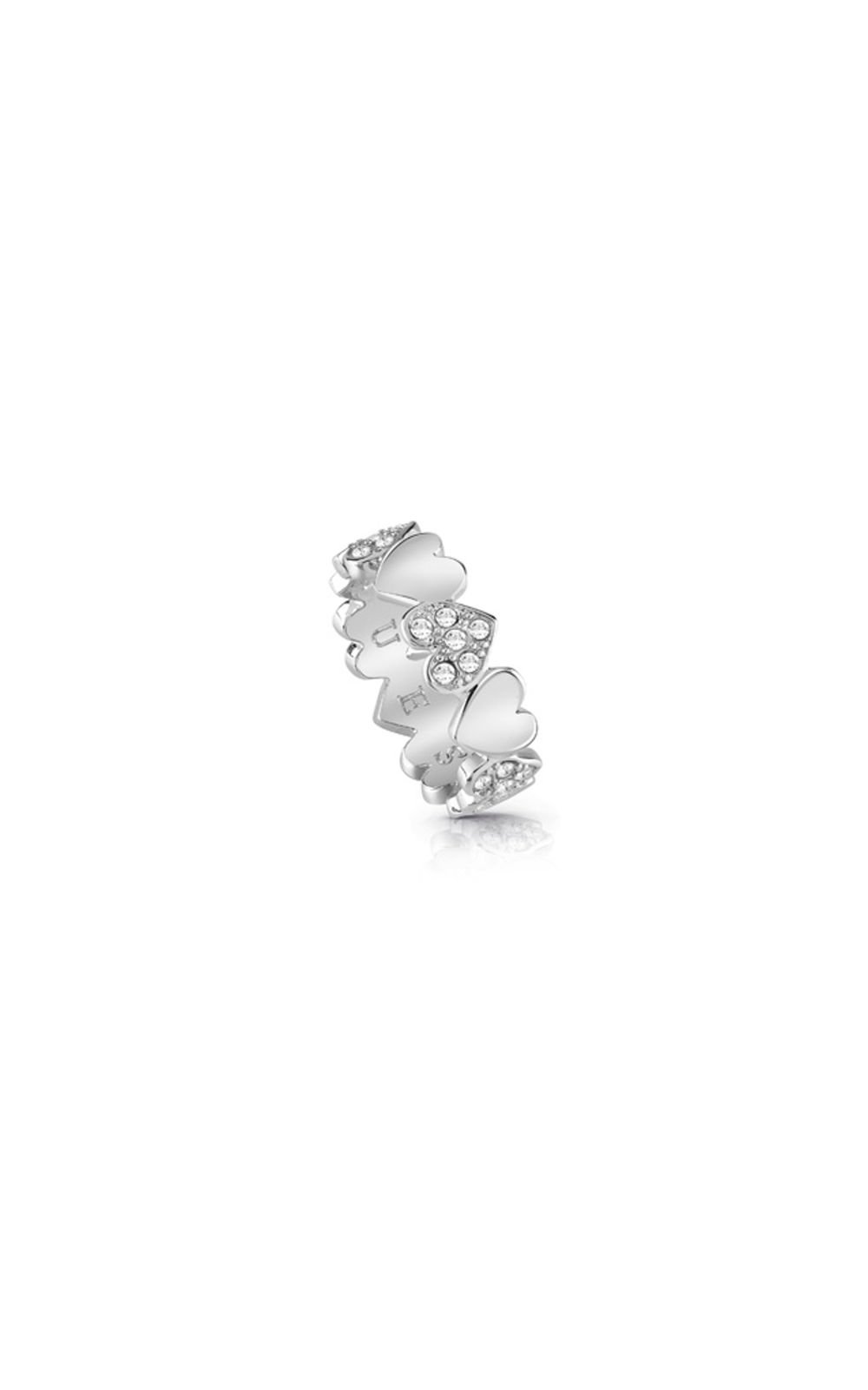 GUESS FAUX UBR85024-54 Ασημένιο Δαχτυλίδι Με Καρδιές