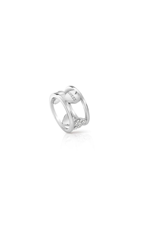 GUESS FAUX UBR85026-54 Ασημένιο Δαχτυλίδι Με Καρδιές