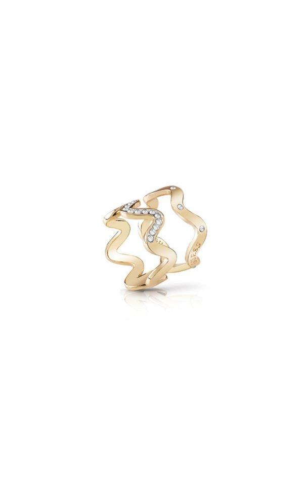 GUESS FAUX UBR85029-54 Χρυσό Δαχτυλίδι Διπλό Κυματιστό
