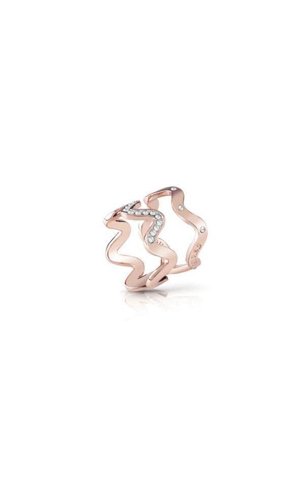GUESS FAUX UBR85030-54 Ροζ Χρυσό Δαχτυλίδι Διπλό Κυματιστό