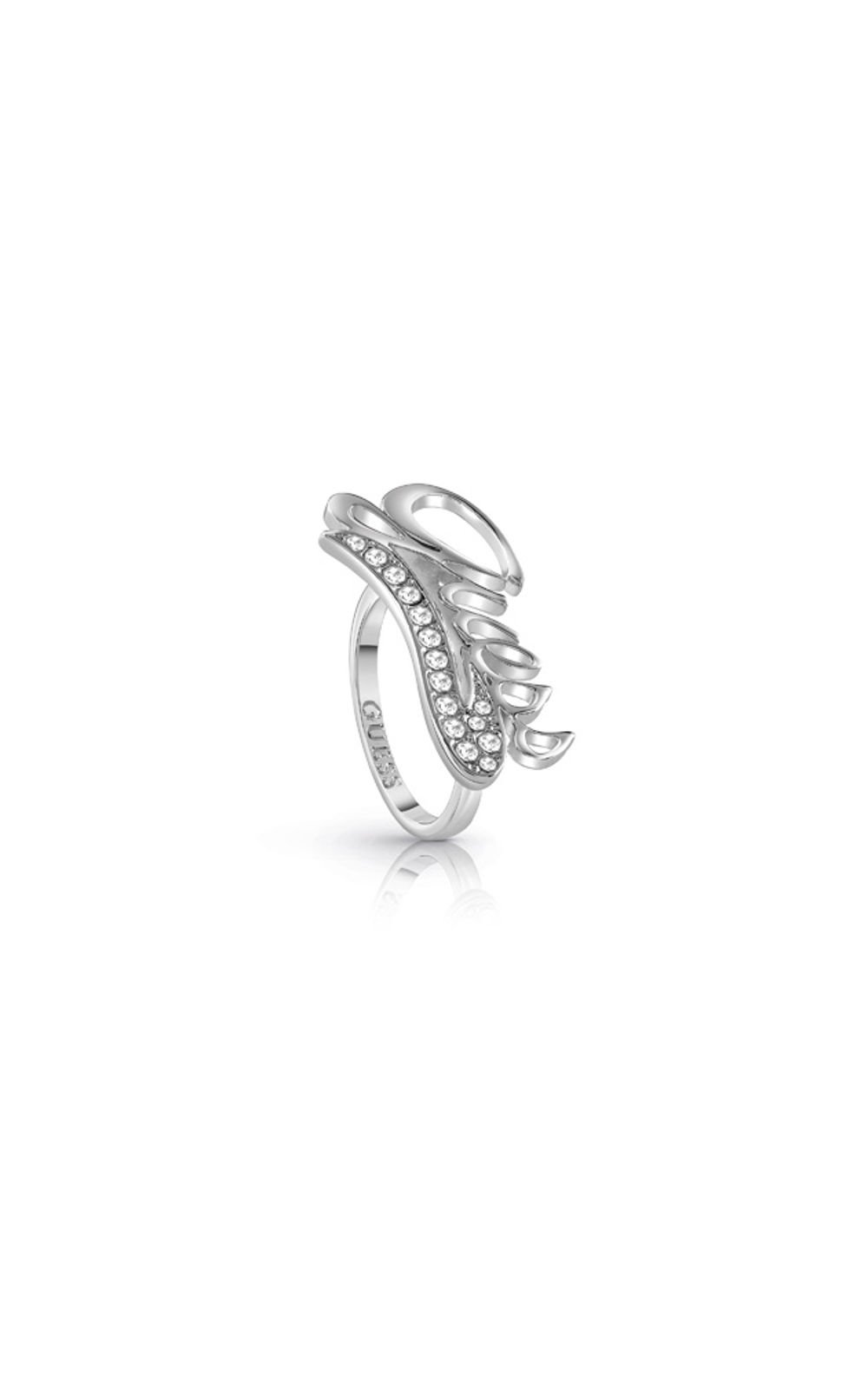 GUESS FAUX UBR85041-54 Ασημένιο Δαχτυλίδι Με Λογότυπο