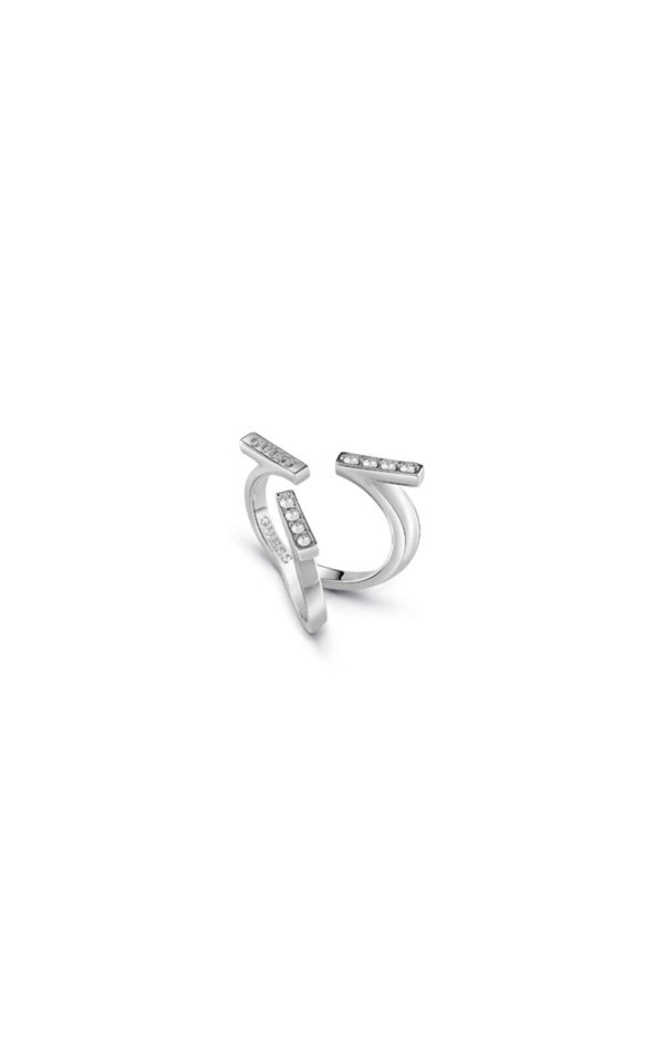 GUESS FAUX UBR85046-54 Ασημένιο Δαχτυλίδι Με Τρεις Μπάρες