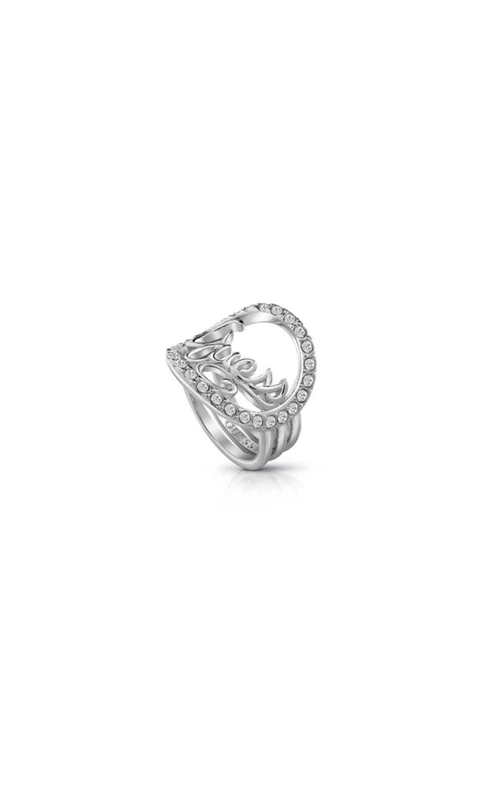 GUESS FAUX UBR85049-54 Ασημένιο Δαχτυλίδι Τρίβερο Με Λογότυπο