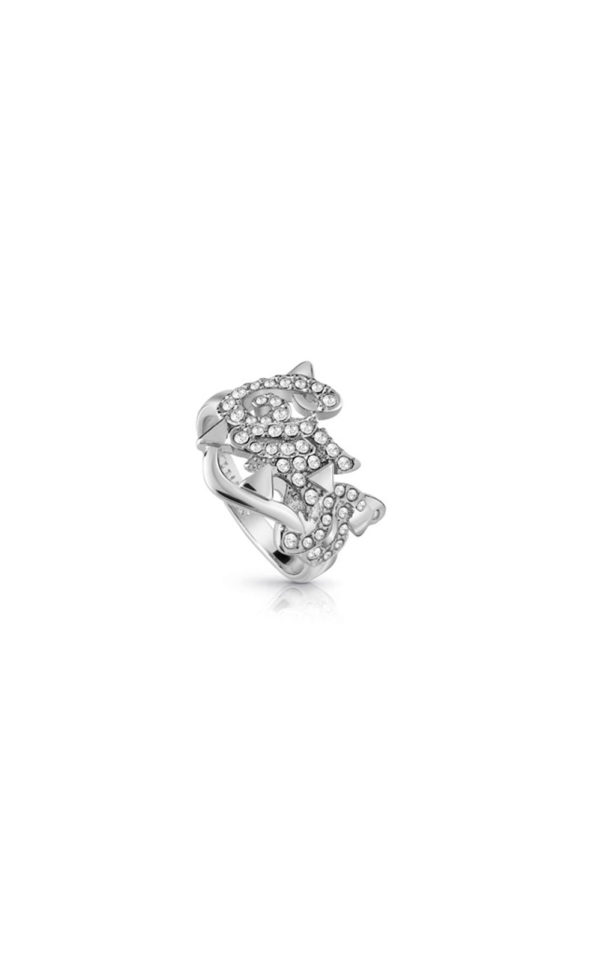 GUESS FAUX UBR85050-54 Ασημένιο Δαχτυλίδι Με Λογότυπο