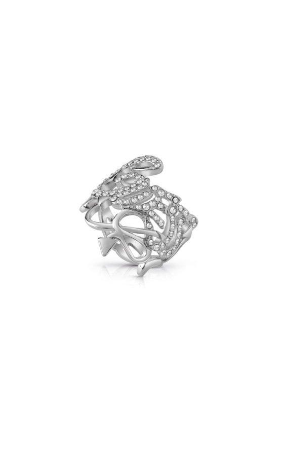 GUESS FAUX UBR85051-54 Ασημένιο Δαχτυλίδι Με Λογότυπο