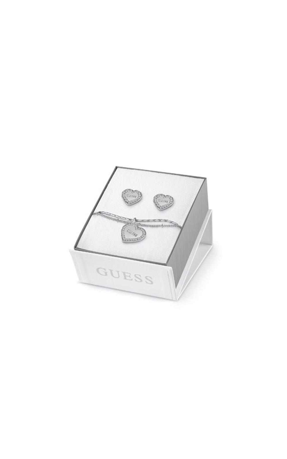 GUESS FAUX UBS84039-L Σετ Ασημένιο Βραχιόλι Και Σκουλαρίκια