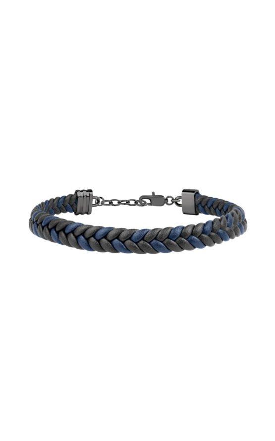 GUESS MEN JM418ANI05 Μπλε & Μαύρο Δερμάτινο Βραχιόλι