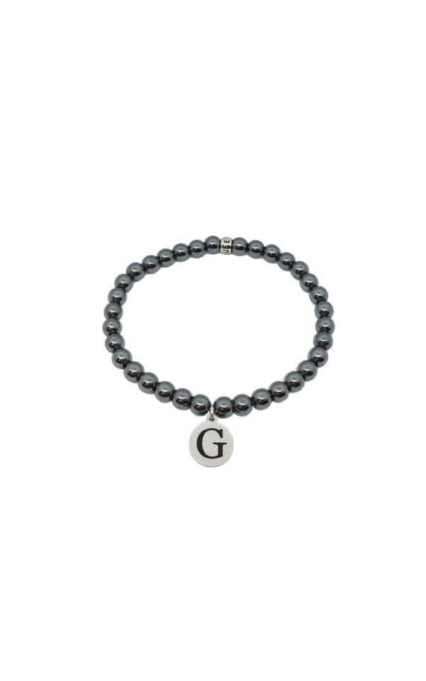 GUESS MEN UMB85001 Βραχιόλι Με Μαύρες Χάντρες & Λογότυπο