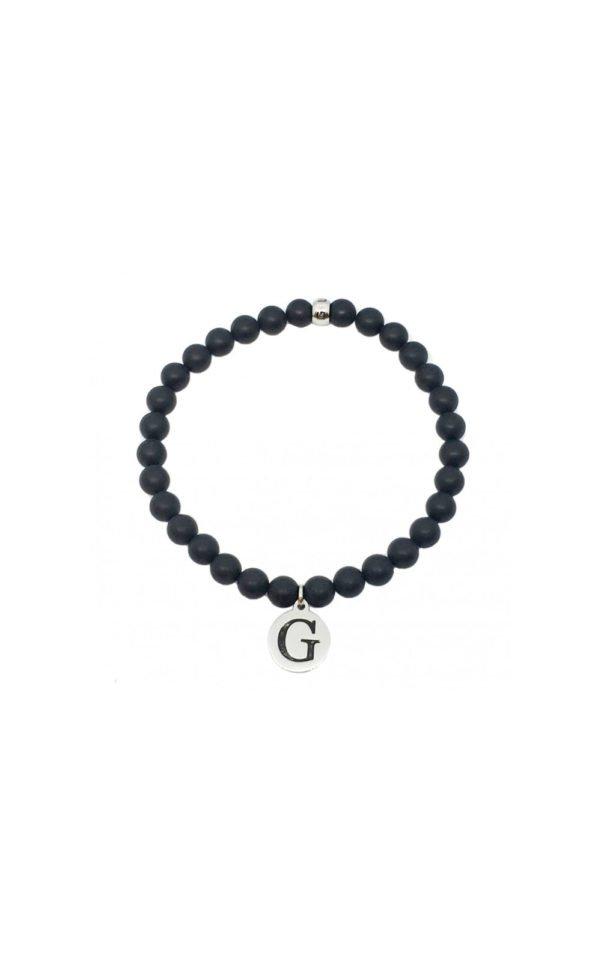 GUESS MEN UMB85002 Βραχιόλι Με Μαύρες Χάντρες & Λογότυπο