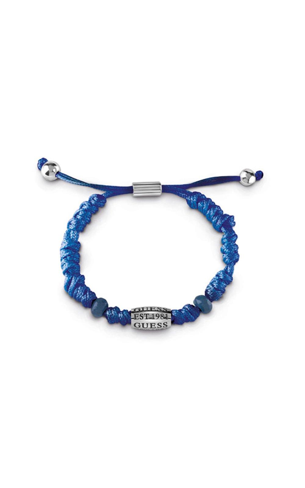 GUESS MEN UMB85012 Βραχιόλι Μπλε Δερμάτινο Με Λογότυπο