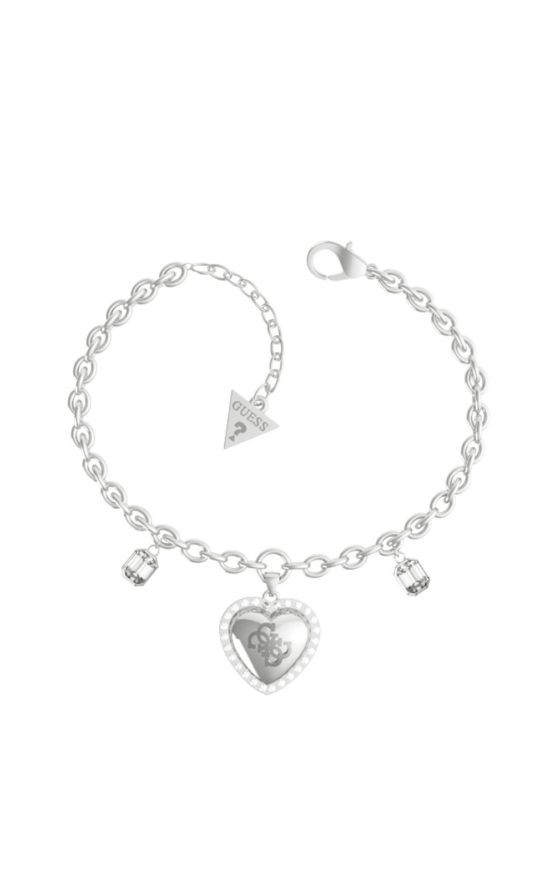 GUESS STEEL JUBB01076JWRHS Ασημένιο Χρυσό Βραχιόλι Με Καρδιά