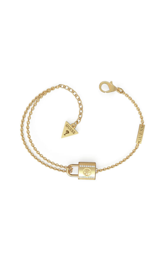 GUESS STEEL JUBB01100JWYGS Χρυσό Βραχιόλι Με Λουκέτο