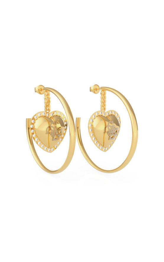 GUESS STEEL JUBE01068JWYGT-U Χρυσά Σκουλαρίκια Κρίκοι Με Καρδιά
