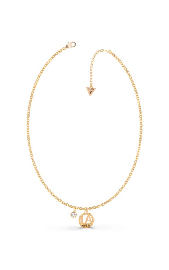 GUESS STEEL LA UBN79032 Χρυσό Κολιέ Με LA Λογότυπο