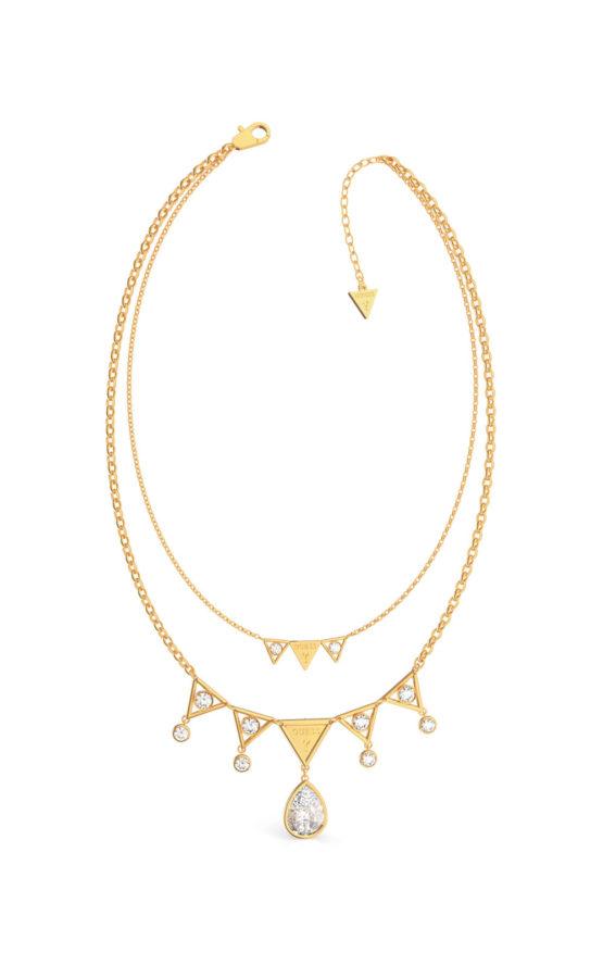 GUESS STEEL QUEEN OF HEART UBN79069 Χρυσό Κολιέ Με Τρίγωνα