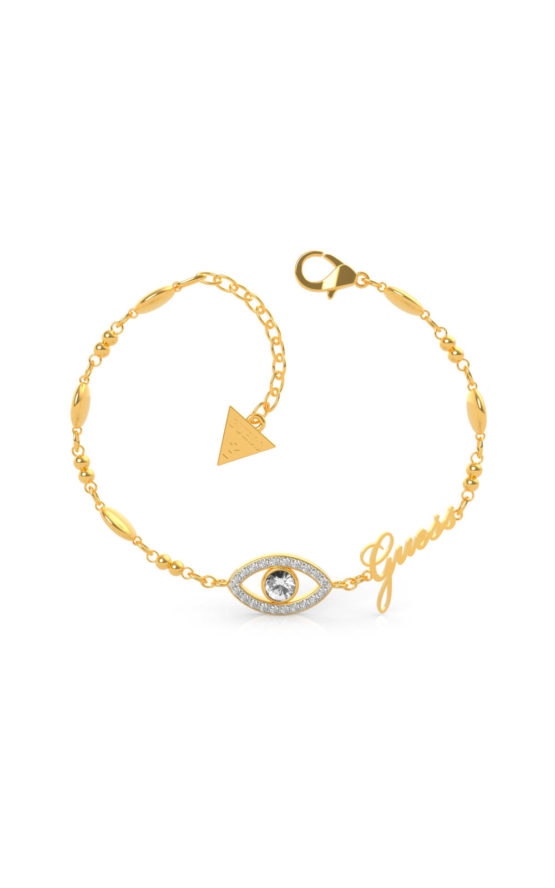 GUESS STEEL UBB29001-S Χρυσό Βραχιόλι Με Μάτι & Λογότυπο