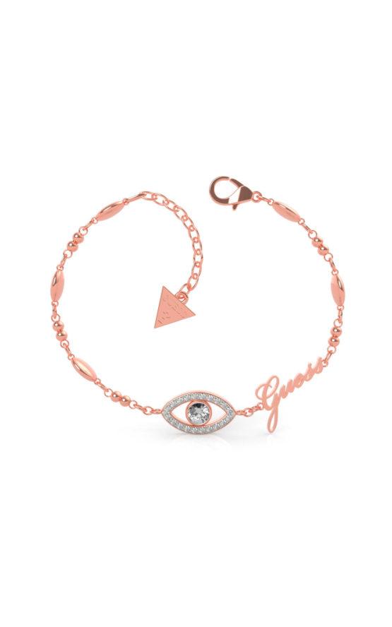 GUESS STEEL UBB29002-S Ροζ Χρυσό Βραχιόλι Με Μάτι & Λογότυπο