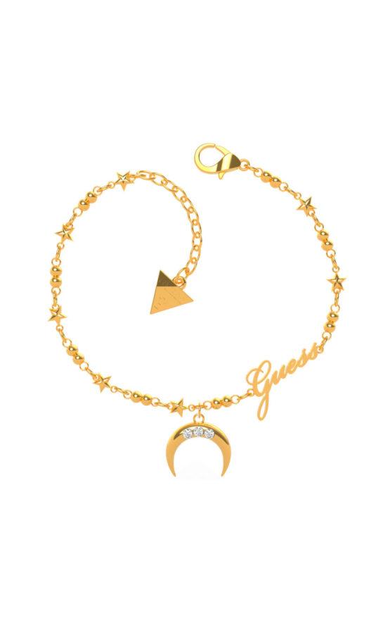 GUESS STEEL UBB29010-S Χρυσό Βραχιόλι Με Φεγγάρι & Λογότυπο