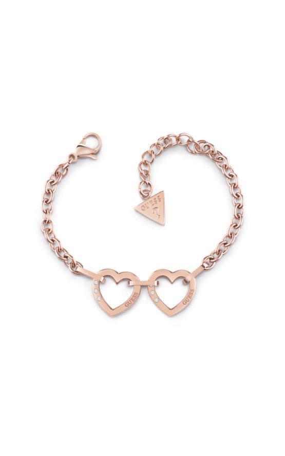 GUESS STEEL UBB29071-S Ροζ Χρυσό Βραχιόλι Με Καρδιές